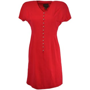 Red Fit and Flare Dress with Silver Buttons by Silk Studio