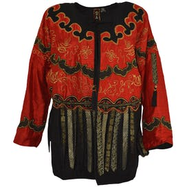 Red and Black Embroidered Jacket with Fringe by Resort