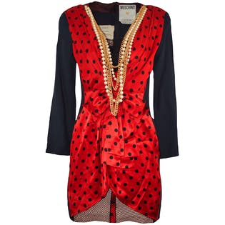 Red and Black Polka Dot Dress with Pearls and Chains by Moschino