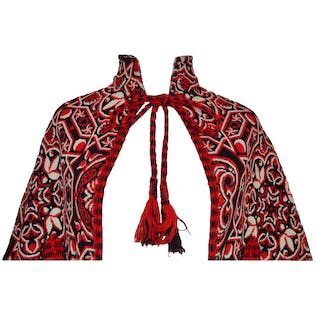 Red and Black Tapestry Cape