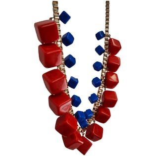 Red and Blue Cubed Necklace
