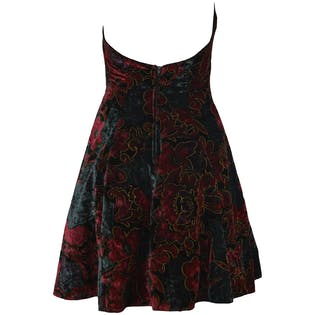 Red and Teal Velvet Halter Dress by Rampage