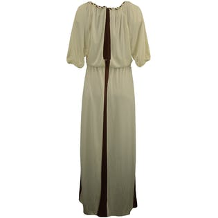 70's Cream and Brown Floor Length Dress