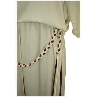 1970's Cream & Brown Floor Length Dress