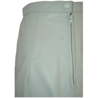 White Leather Button Skirt by Anne Klein