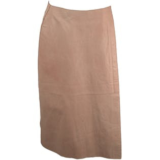Light Pink Leather Knee Skirt by Anne Klein