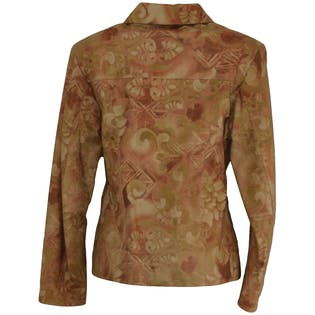Beige Floral Leather Jacket by skin