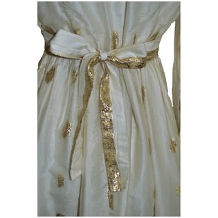 1960's Gold and Cream Party Dress