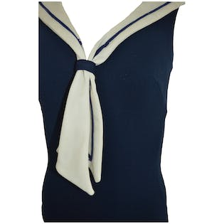 60's/70's Sailor Style One Piece Swimsuit by Sirena