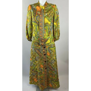 70's Yellow Paisley Floral Blouse And Quilted Skirt Set