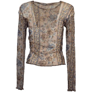 Sheer Patterned Long Sleeve Top by CTME