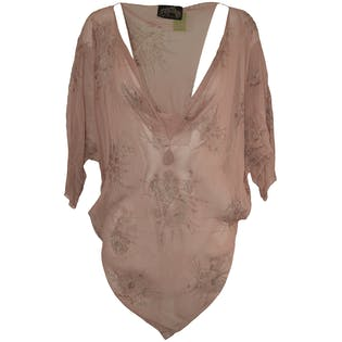 70's/80's Sheer Mauve Beaded Blouse by Strip Thrills