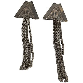 Silver Horseshoe Triangle Earrings with Chains by Fashion Earrings