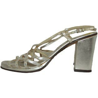 60's/70's Silver Strap High Heels by Rangoni
