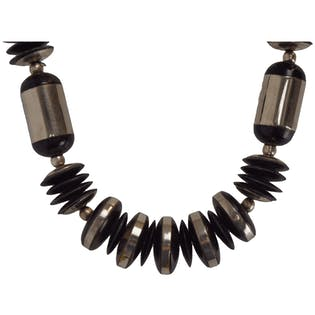 Silver and Black Chunky Necklace