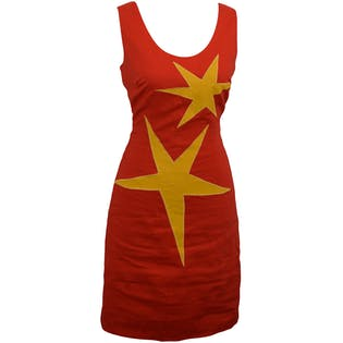 Sleeveless Red Dress with Starbursts