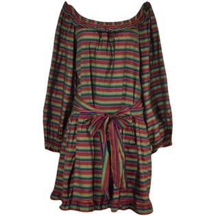 Striped Silk Dropwaist Dress