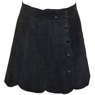 60's/70's Suede Navy Button Down Skirt with Scallop Trim by Chelsea Girl