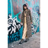 another view of 90's Fuzzy Leopard Print Maxi Coat by Formula X