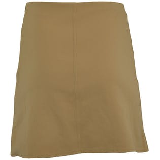 Tan Fitted Skirt with Brown Lace Up Detail by Axara