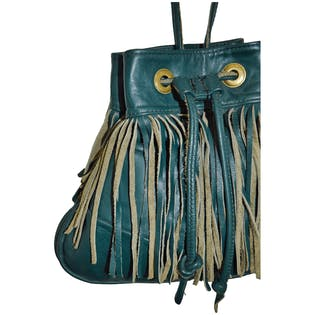 Teal Leather Purse with Fringe by Genuine Leather