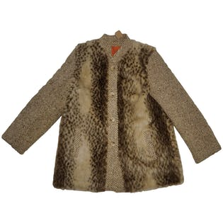 Tweed and Faux Fur Coat by Dannimac
