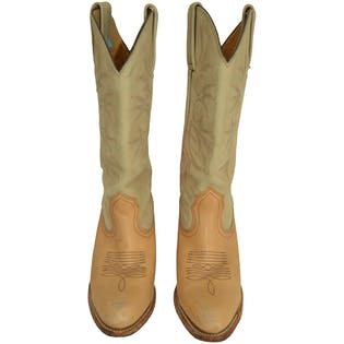 Two Toned Beige Cowboy Boots by Frye