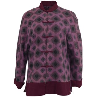 Two Toned Purple Printed Coat