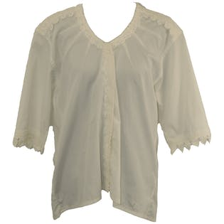 White Quarter Length Sleeve Lace Trimmed Blouse by Prada