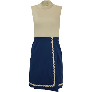 White and Navy Sleeveless Dress with Matching Belt