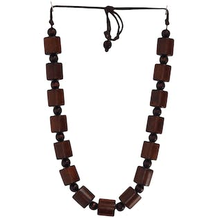 Wooden Cylinder Necklace