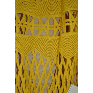 Yellow Cutout Tea Length Skirt by Ministry of Style