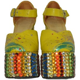 Yellow Platforms with Rainbow Rhinestones