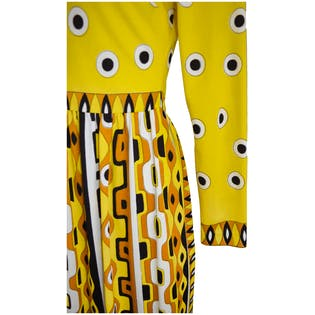 Yellow Printed Maxi Dress by Mr. Dino