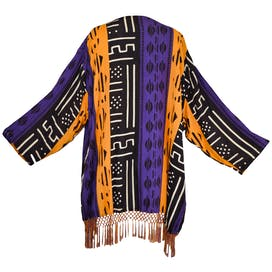 Yellow, Purple, and Black Patterned Kimono by Magic