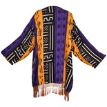 another view of Yellow, Purple, and Black Patterned Kimono by Magic