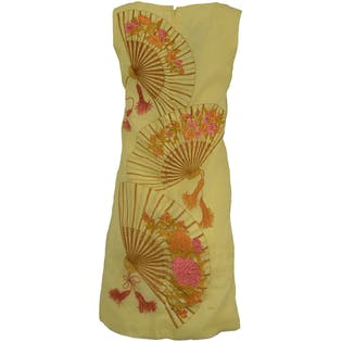 Yellow Sleeveless Dress with Fan Design by Alfred Shaheen