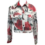 90's Rose and Newspaper Print Sheer Sleeve Denim Jacket by Caché