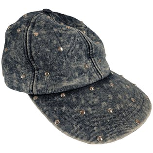 Acid Wash Baseball Cap with Silver Studs by Giorgio Beverly Hills