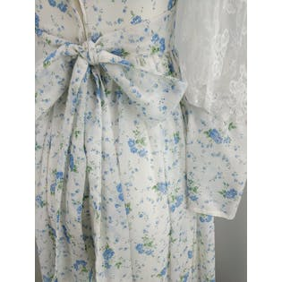 70's Blue Floral and White Maxi with Lace by Gunne Sax