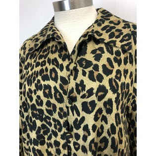 80's Leopard Print Silk Swing Trench by Dennis Basso