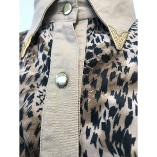 80's Cheetah Print Western Style Button Up Shirt