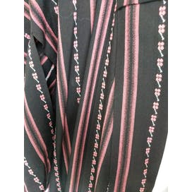 Black and Pink Striped Kimono with Flowers