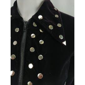 70's Black Velvet Studded Short Crop Jacket by R Co.