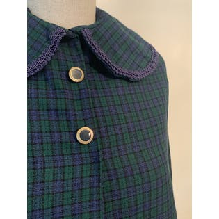 70's Plaid Peter Pan Collar Cape