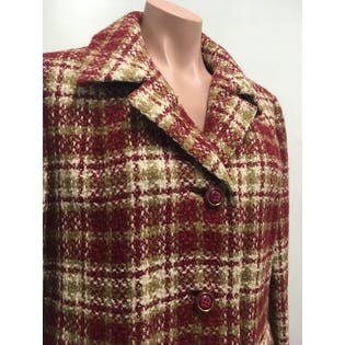 60's Red, Green and Beige Plaid Coat by The Wool Shop