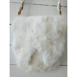 White Fur Satchel with Brown Braided Leather