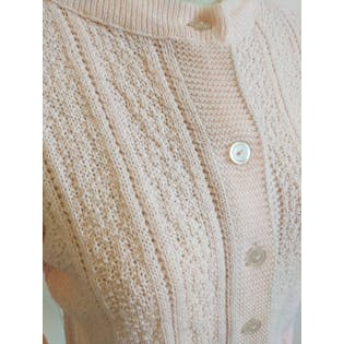Pink Knit Button Up Cardigan Sweater by Cuddle Knit Wintuk