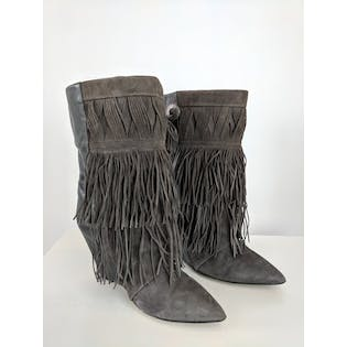 Gray Fringe Wedge Boots by Isabel Marant
