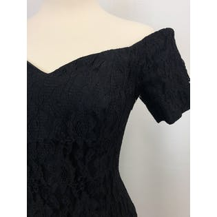 90's Black Lace Off The Shoulder Dress by Nicole Miller